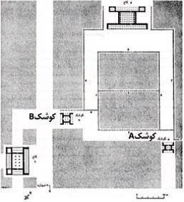 عدم حضور شواهدی از چهار باغ، تقسیمات دو بخشی در پلان باغ پاسارگاد با توجه به حفاری های باستان شناسی . مأخذ : استروناخ ، 1379