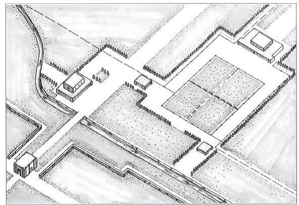 پرسپکتیو بازسازی شده چهارباغ و کا خهای پاسارگاد مأخذ: استروناخ، 1371