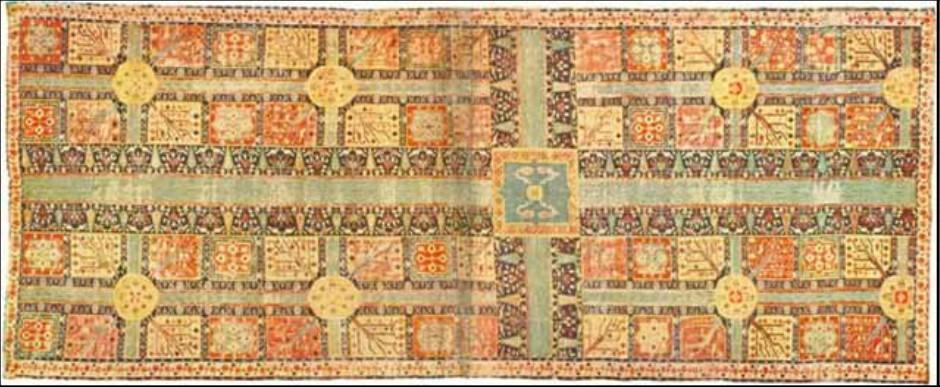 فرش بافته شده با طرح باغ مربوط به سده دوازدهم ق (کردستان)